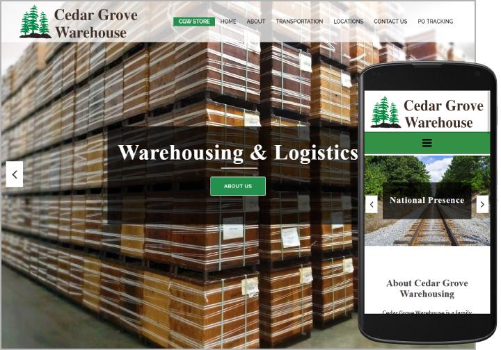 Cedar Grove Warehouse website after redesign