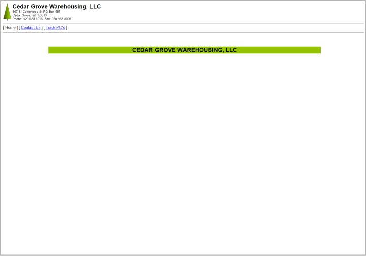 Cedar Grove Warehouse website before redesign